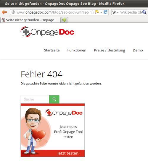 404 Fehler bei Onpage SEO-Tool #Onpagedoc